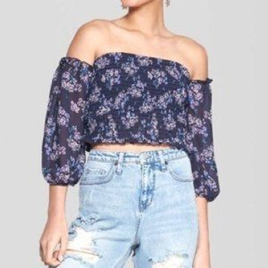 WILD FABLE Black Floral Smocked Crop Top Large NWT